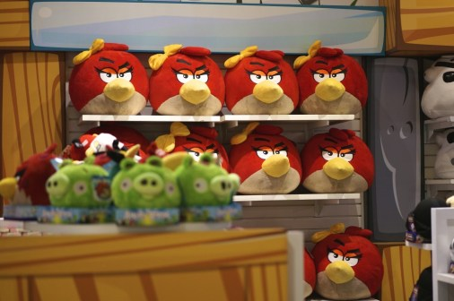 Plush angry bird toys at FAO Schwarz NYC