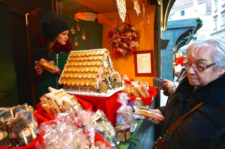 Stephansplatz Christmas Market Vienna Austria stall vendor gingerbread house food