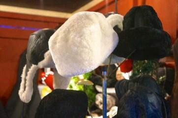 Faux fur but still warm hats at the Kungstradgården Christmas market.