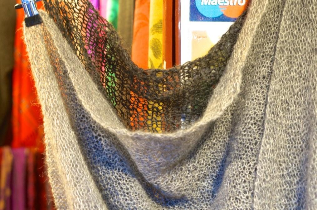 Loosely knit blankets at Stockholm's Kungstradgården Christmas market.