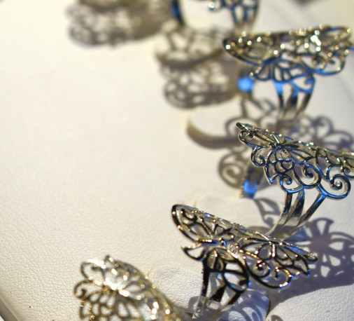 Delicate sterling silver Swedish filigree rings at the Kungstradgården Christmas market