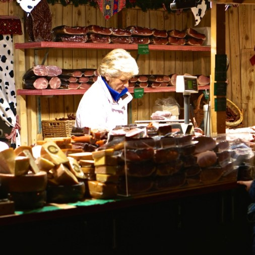 Vienna Austria Spittelberg Christmas Market vendor meat stall