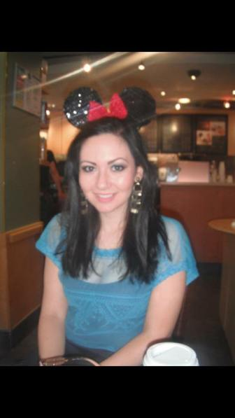 Glam girl Aisling models her sparkly Mouse ears.