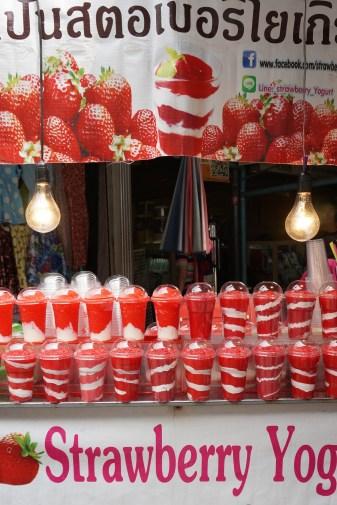 This display of freshly made yogurt parfaits was irresistable (at JJ Market/Chatuchak) in Bangkok.