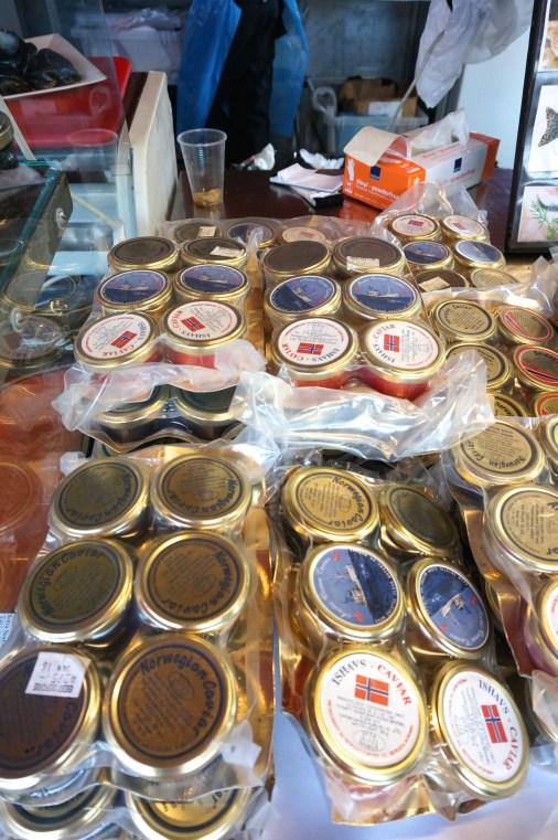 Bergen Torget fish market: different varieties of salmon caviar