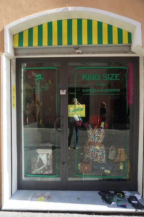 King Size vintage shop in Monti, Rome.