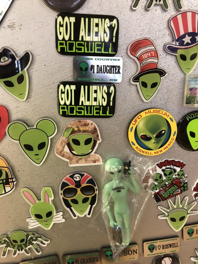Plenty of alien magnets to choose from (alien souvenirs, UFO Museum gift shop).