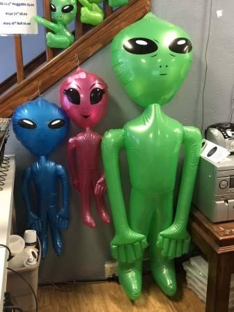 I want these giant blow up aliens. (alien souvenirs, UFO Museum gift shop)