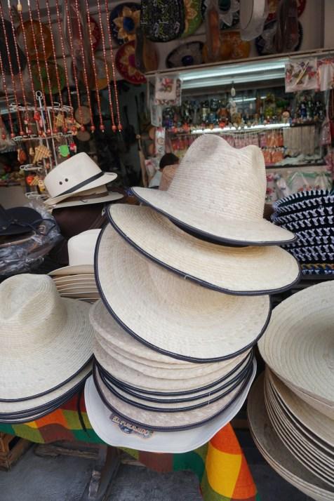 hats at La Cuidedela market in Mexico City photos