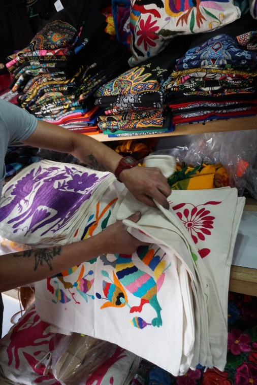 Pillow cases at La Cuidedela market in Mexico City