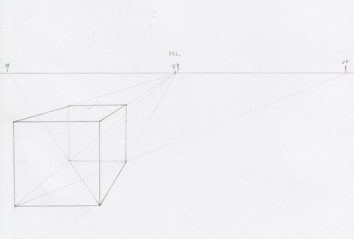 一点透視図法と対角線の消失点の説明8