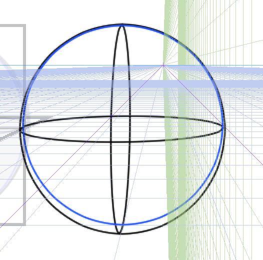 球体と立方体、描き方の実験8