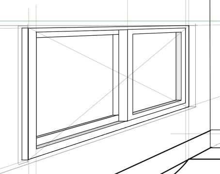 パースを使って教室を描く・一点透視図法71