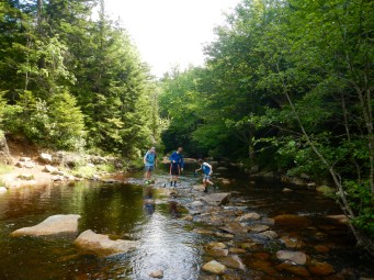 Rock-hopping over the North Fork of Red Creek
