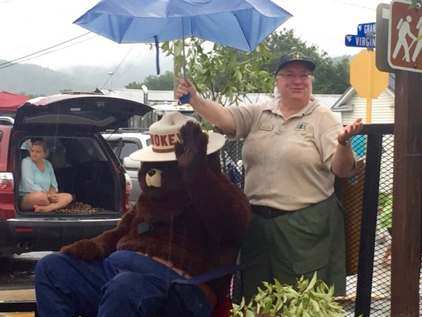 Irony: Smokey Bear has spent a career trying to put out fires, but has to stay dry himself