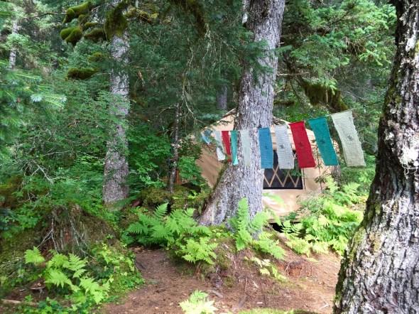 Prayer flags and the yurt