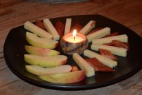 Apples, cheese, and maple smoked salmon