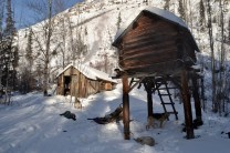The bear cache and cabin at Nation Bluff