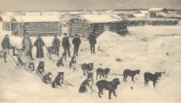 A dog team leaves the village of Circle in the early 1900s
