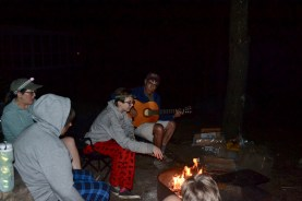 Lou entertains us by the fire