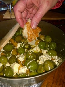 Appetizers were easy, though! This is olives, feta, lemon peel, olive oil, garlic