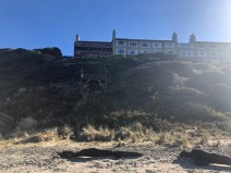Looking up at the hotel from the beach