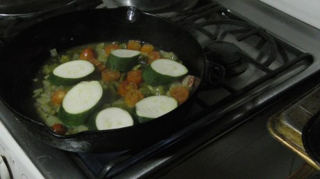 Adding zucchini late, to ensure that it isn't over-cooked