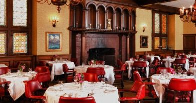 The elegant dining room at the Buffalo Club today
