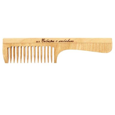 Расческа деревянная с ручкой средний зуб