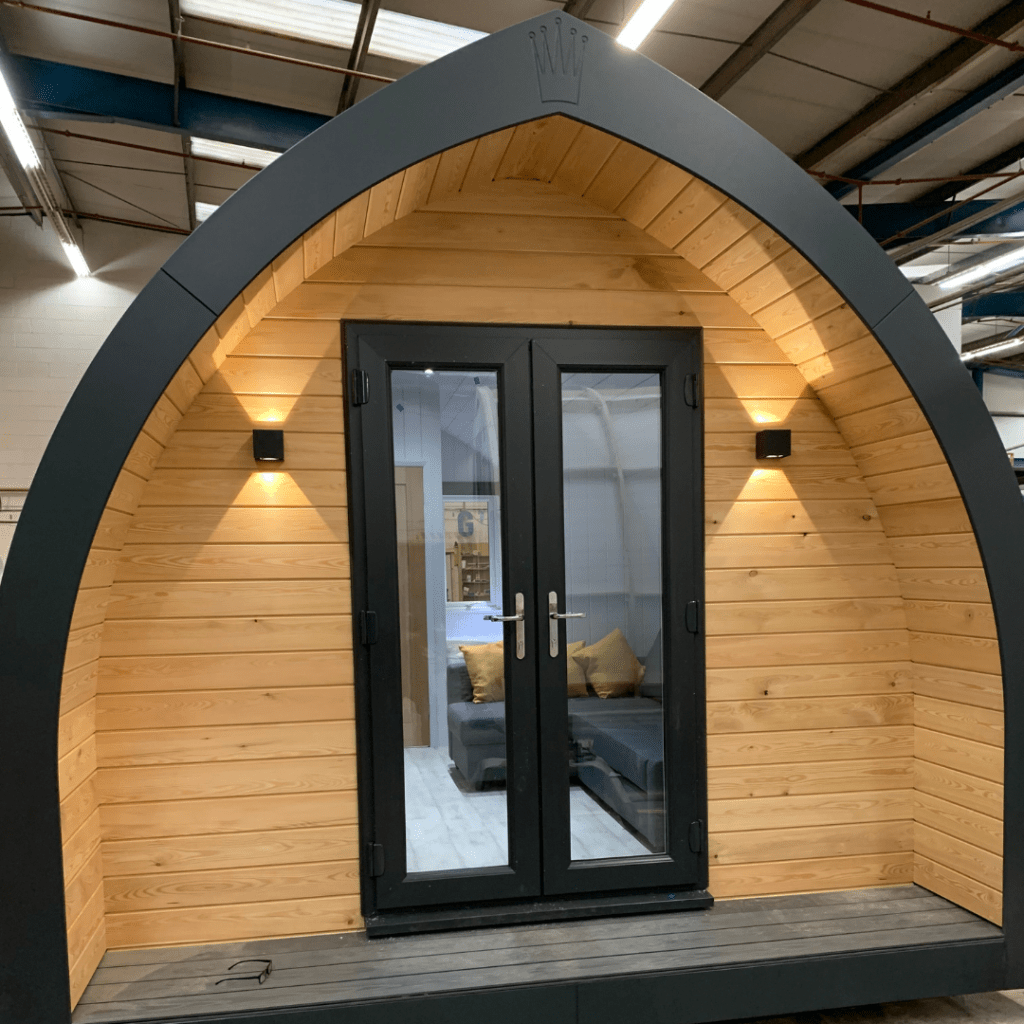 glamping pod exterior photo in the workshop