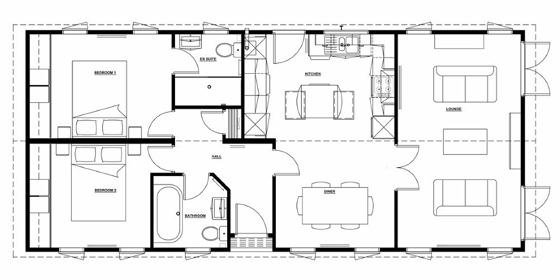The Heywood - contemporary and luxury residential or holiday home - example floor plan picture with two bedrooms