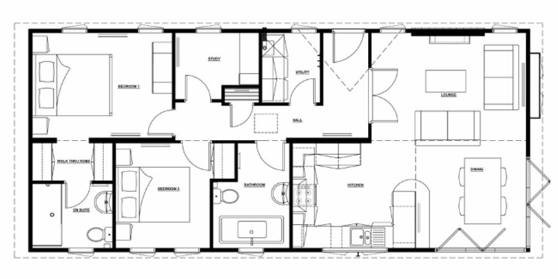 The arden - modern and comfortable accomodation - example floor plan with two bedrooms