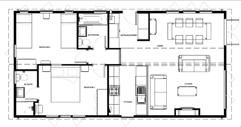 The summer haven holiday lodge - floor plan option 1 with two bedrooms