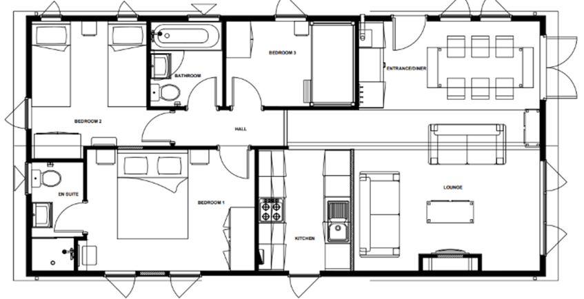 The summer haven holiday lodge - floor plan option 2 with three bedrooms