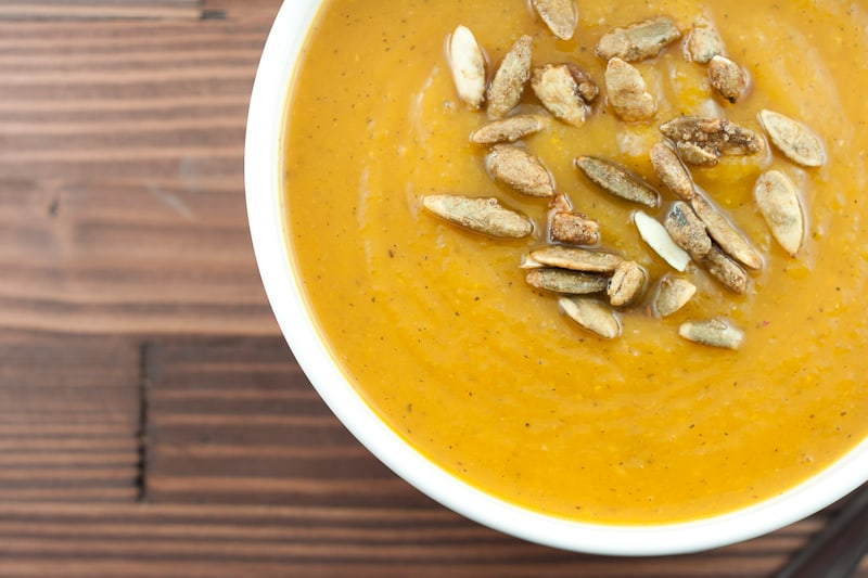 bowl of soup with roasted pumpkin seeds