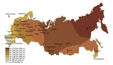 Kort over regioner i dybden af frysning