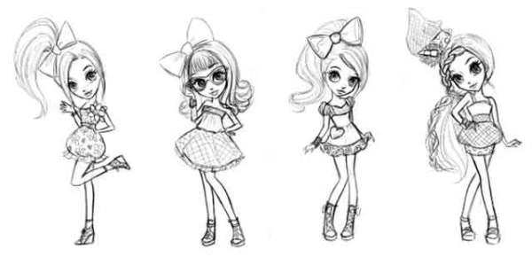 девочки в платье для срисовки