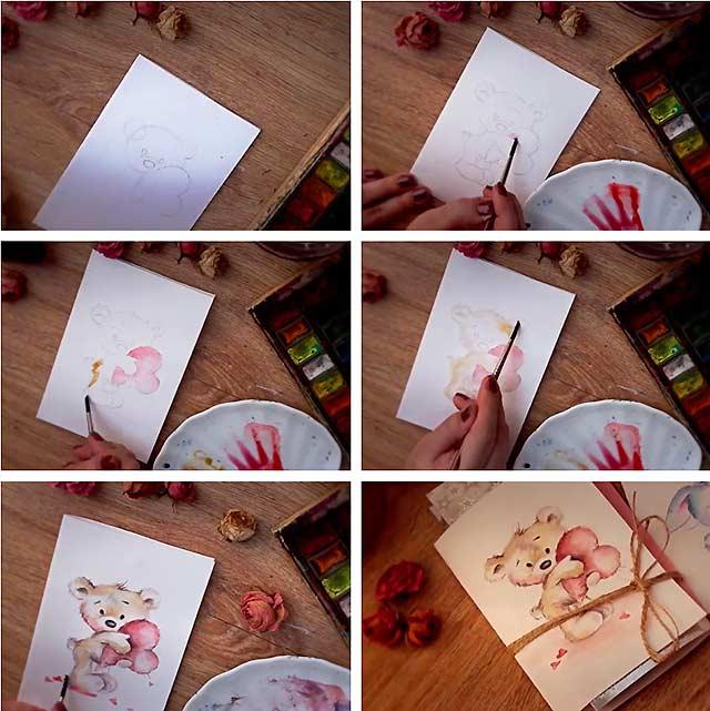 Как нарисовать открытку фото, хризантемами хоровод гифка
