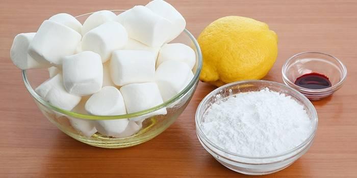 Marshello, citron, cukrový prášek a barvivo