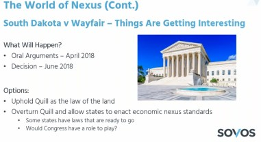 South Dakota v Wayfair slide from Sovos