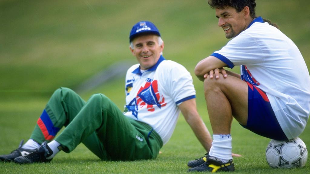 Arrigo Sacchi y Roberto Baggio; el genio y las estrellas