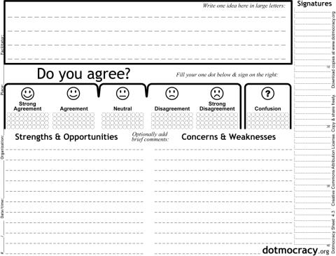 An empty Dotmocracy sheet