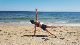 A side plank on the beach