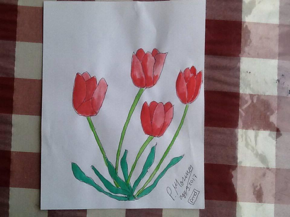 Acuarela de Tulipanes Rojos, Pedro Mosiño Díaz, Soy Neuro MKT