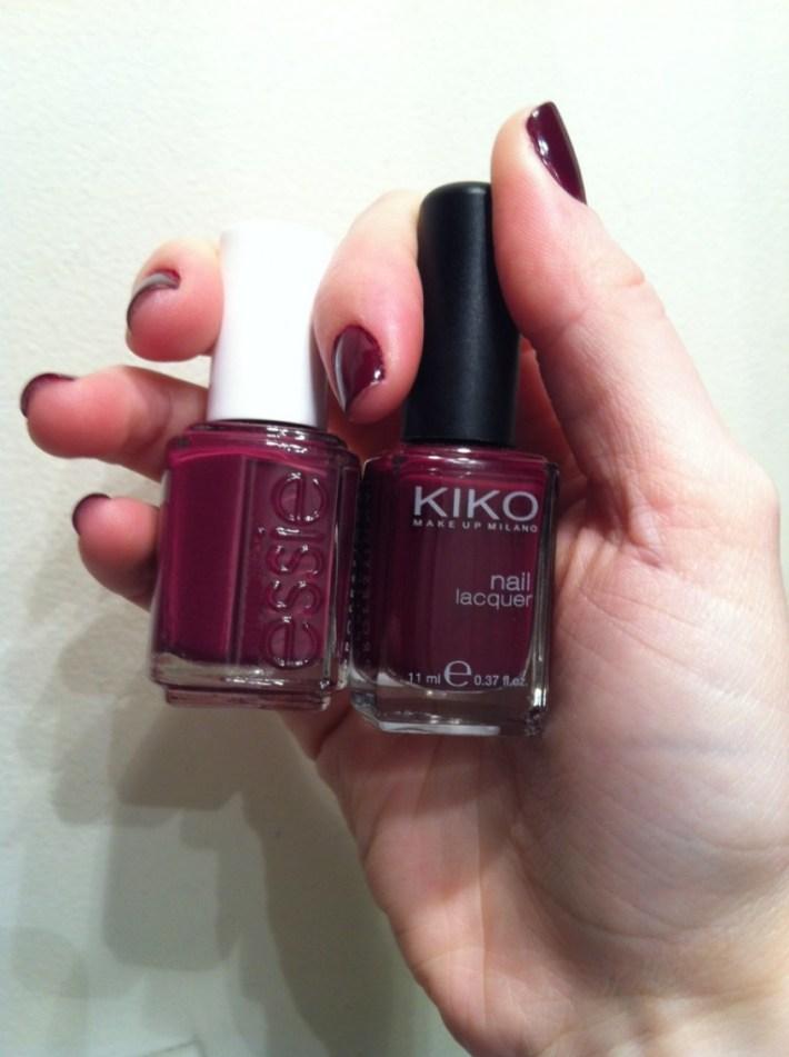 Kiko 243 plum red recessionista essie