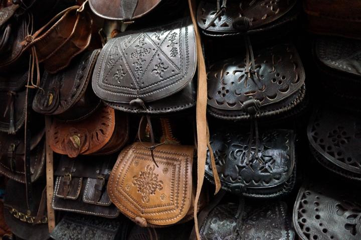 Marrakech Souk Medina Sacs Cuir Maroc