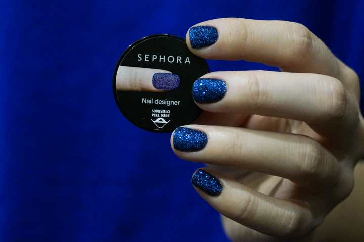 Sephora Nail designer effet 3D manucure swatch Paillettes bleues avis test