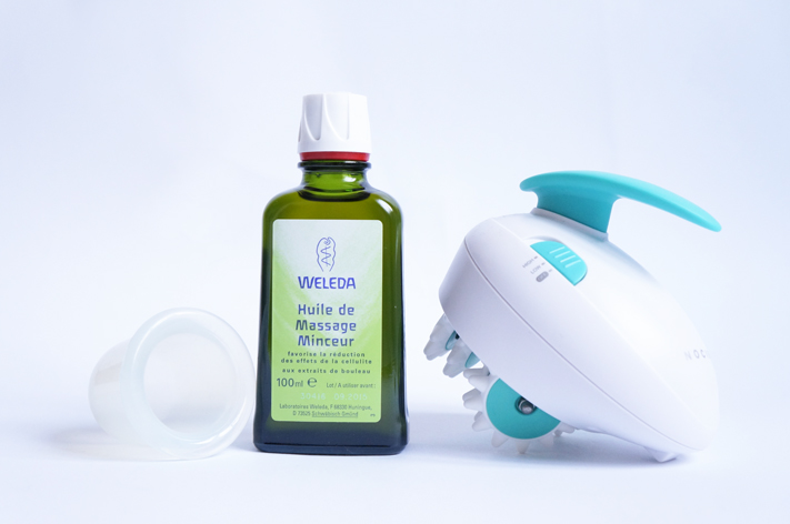 Objectif plage Cellu-cup Huile massage minceur Weleda Masseur anti-cellulite Nocibe test avis