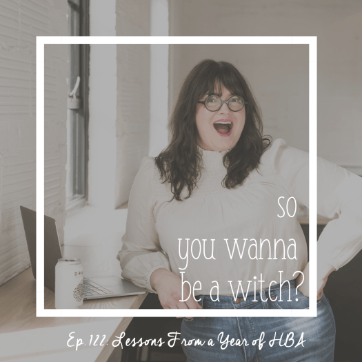 Episode 122 So You Wanna Be a Witch. Lessons From a Year in HBA. Sarah Chappell looking open-mouth excited in front of her laptop.