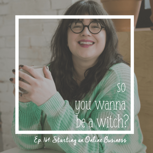 So You Wanna Be A Witch Episode 164: Starting an Online Business. Sarah Chappell smiles in a cafe with a mug of coffee.